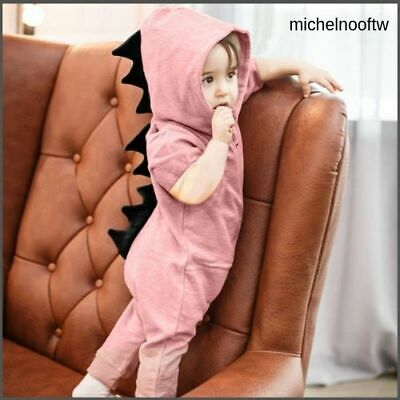 Newborn Infant Baby Dinosaur Hooded Boy Girl Kids Romper Jumpsuit Clothes Outfit