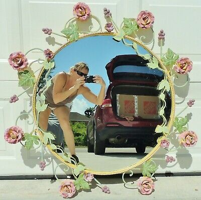 """Large Antique/Vtg 38"""" Ornate Italian Tole Toleware Pink ROSES Wall Mirror ITALY"""