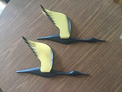 Vintage Wall Art Metal And Hard Plastic Geese From The Mid Century