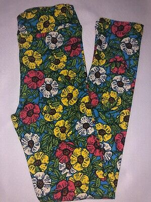 (Box S) LuLaRoe Kids Leggings L/XL New Blue W/ Yellow White Pink Floral