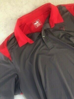 PUMA GOLF Mens Large Sz L Gray Red Polo Shirt Dry Cell PGA Tour Masters Rickie