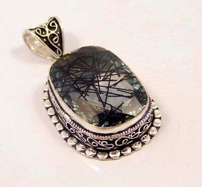 Black Needle Rutlie .925 Silver Plated Hand Carving Pendant Jewelry JC6629