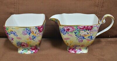 Royal Winton Grimwades Creamer & Open Sugar Chintz Floral with Gold