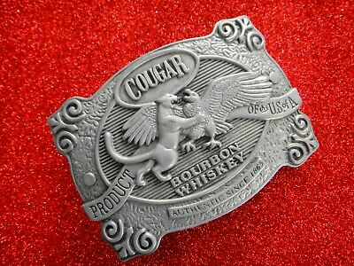 USA  Alloy Metal Belt Buckle  Cougar Bourbon Whiskey   Pre-Owned