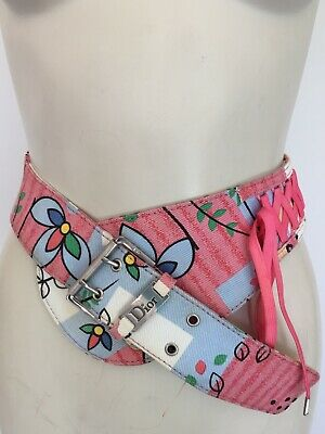 Womens Vintage CHRISTIAN DIOR Admit It Limited Edition Print Saddle Belt S/M