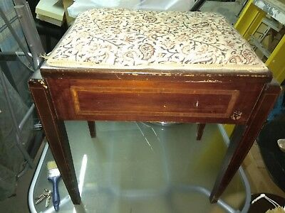 Traditional Mahogany STOOL with ottoman storage and padded seat