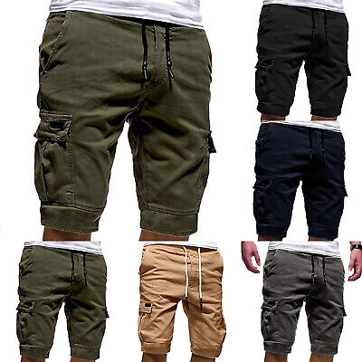 Mens Elastic Waist Cargo Shorts Solid Pockets Short Pants Summer Casual Trousers