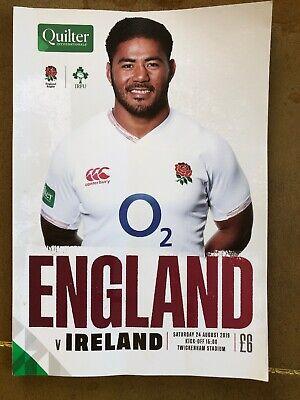 England V Ireland Rugby Programme : Twickenham 24th August 2019