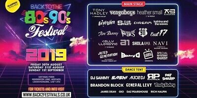 back to the 80s 90s festival tickets weekend camping aug 30th 2019 adult+child