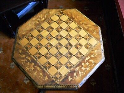 Beautifully Inlaid Victorian Trumpet Sowing/Games Table