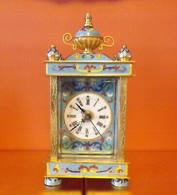 Attractive petite polished brass and Champleve / Cloisonne enamel clock