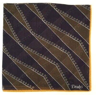 Drake's Pocket Square Navy with Yellow Edge | Brand New | RRP £55