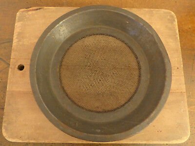 HTF ANTIQUE Vintage DARK TIN Cake Pie  PAN SIEVE SCREEN SIFTER Bottom #1