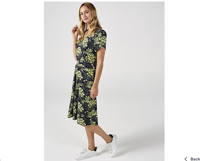 Kim & Co Floral Toile Brazil Jersey Tulip Sleeve Flared Dress Navy/Green Large