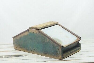 Antique Wood Box Dry Blue Paint Hand Made Primitive AAFA Folk Art 27.5x13x11
