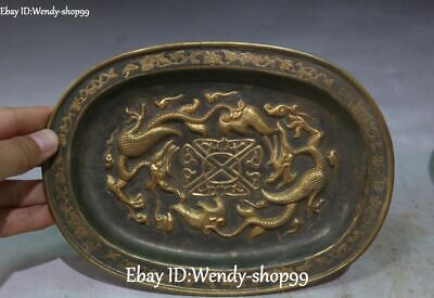Old Pure Silver 24K Gold Gilt Dragon Pixiu Beast Flower Plate Dish Tray Statue