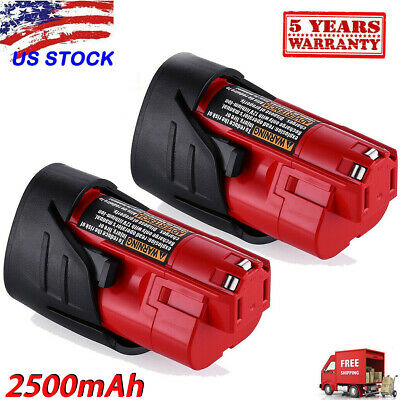 2X 12V 2.5Ah Lithium-ion Battery for Milwaukee M12 12 Volt 48-11-2420 48-11-2401