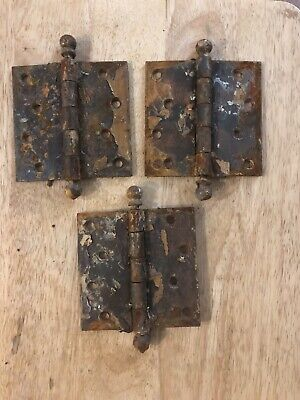 Vintage Lot Of 3 Old Brass Door Hinges 4""
