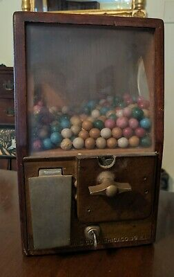 Victor Vending Gumball Machine 1¢ Penny Oak Case Working Countertop Drugstore