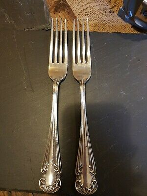 Victorian Highly Decorative Pair Of Large Dinner Forks Silver Plated