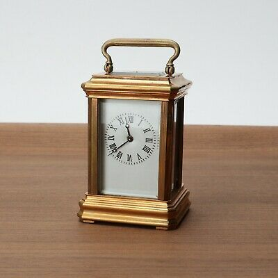 Antique/Vintage Small Brass Porcelain Dial Carriage Clock 2 x 3 Collectible