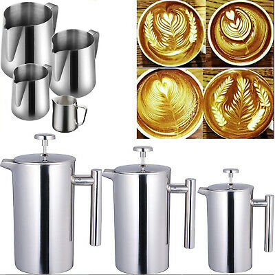 French Press Cafetiere | Steel Coffee Maker | Tea Filters & Spoons | 3-8 Cup UK