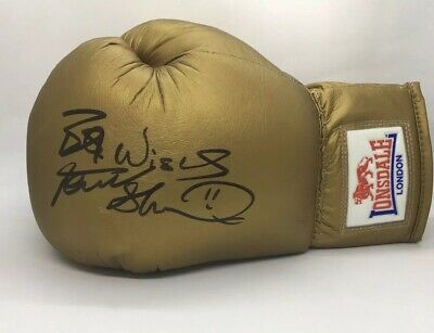 Frank Bruno Signed Gold Boxing Glove W#1