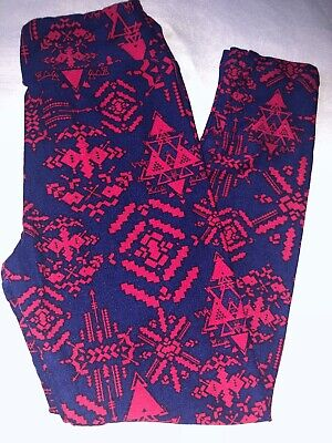 (BoxY) LuLaRoe Kids Leggings L/XL New Navy W/ Pink Aztec