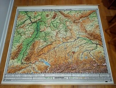 VINTAGE OLD SCHOOL map Southern Germany rollable wall chart ...