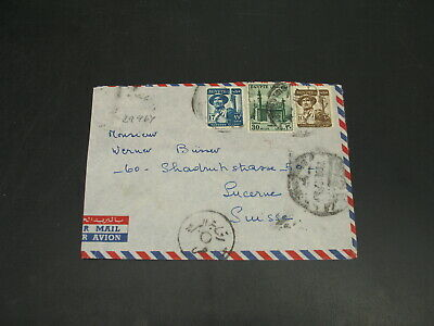 Egypt 1950s airmail cover to Switzerland cut out *29964
