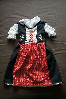 Girls Dirndl Octoberfest Traditional Bavarian Dress Costume 3 pcs set UK 5-6 NEW