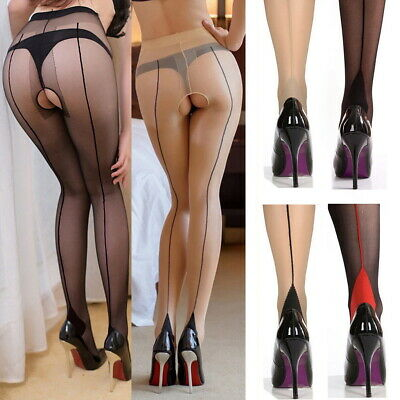 Back-Seam Line Stockings Cuban High Heels Tights Pantyhose 20D Sheer Crotchless