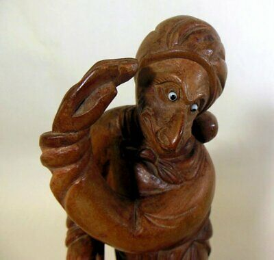 Vtg Hand Carved WOOD CHINA Asian Sun Wukong MONKEY King God Statue Sculpture