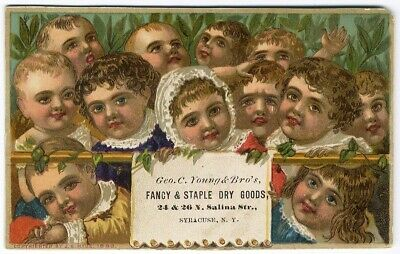Syracuse NY YOUNG BROS DRY GOODS Victorian Trade Card BABY FACES 1883