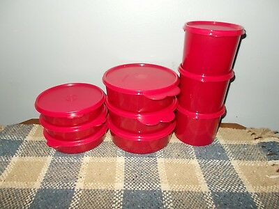 New TUPPERWARE Wonderful Wonders 9 Pc Set Sparkling Bowls/Canisters Lipstick Red
