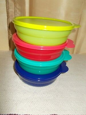 Tupperware IMPRESSIONS MICROWAVE CEREAL BOWLS set 4 new  Assorted Colors
