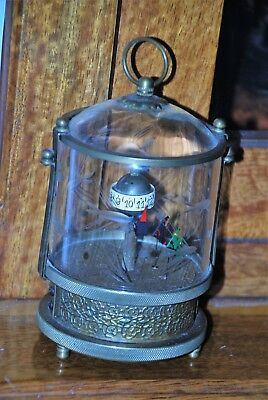 Vintage / Antique   Clock Rare? Etched Glass Chinese Fighting Fish -Good Lot