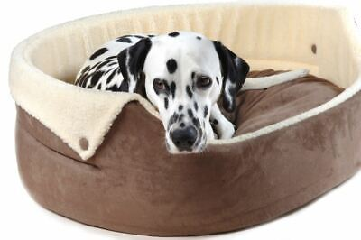 Chelsea Button-Down Dog Bed Brown Cream lining