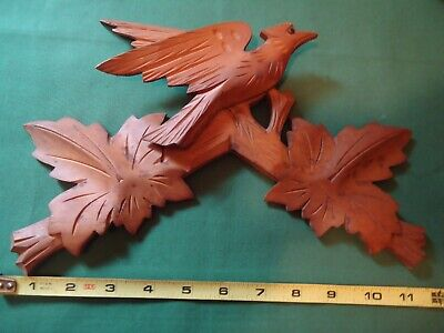 "Large Vintage 11-1/2"" German Cuckoo Clock Wood Topper Bird With Leaves #c"