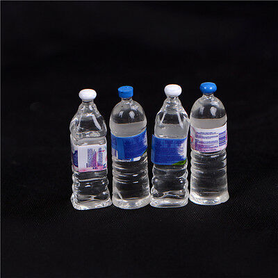 4Pcs Dollhouse Miniature Bottled Mineral Water 1/6 1/12 Scale Model Home DecorP0