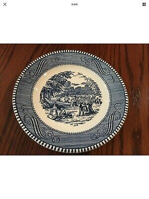 "Royal China Currier and Ives The Old Grist Mill 10"" Blue Dinner Plate"