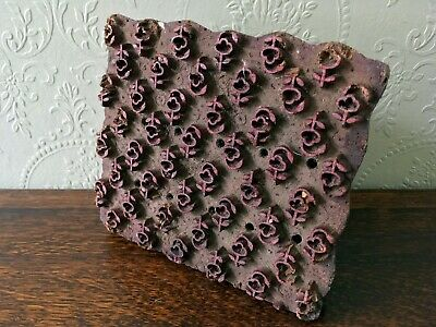 Antique Hand Carved Wooden Fabric Textile Floral Pattern Printing Block