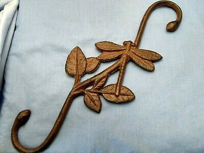 """12"""" Rustic Brown Cast Iron Dragonfly plant Hook."""
