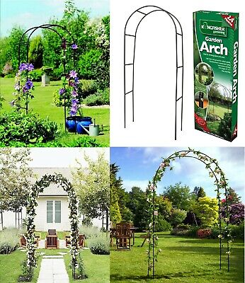 Kingfisher Large Black Metal  Self Assembly Garden Arch Climbing Plants & Roses