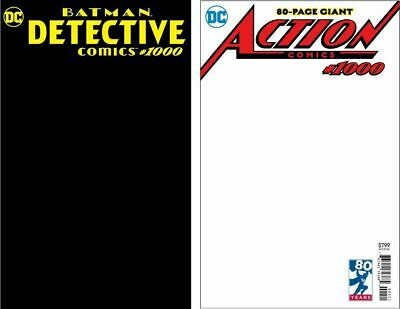 Detective BLACK / Action Comics WHITE BLANK #1000 RARE SKETCH COVER VARIANTS!!!