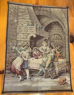 """GENUINE 19th Century French Jacquard Tapestry (3 of 3) - """"In The Tavern"""""""