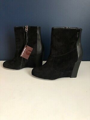 G Star Raw- Black Genuine Leather Ankle Boots .. Wedge Heel -size 37 -Brand New