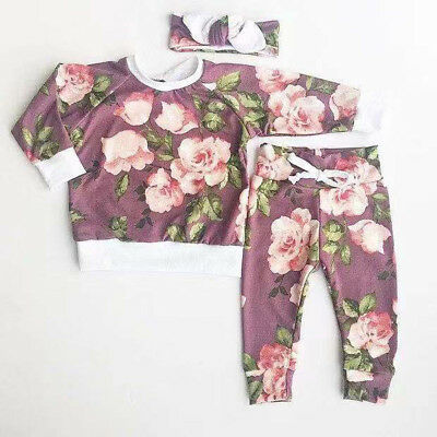 Newborn Kid Baby Girl Floral Clothes Tops T Shirt Tee Pants Tracksuit Outfit Set