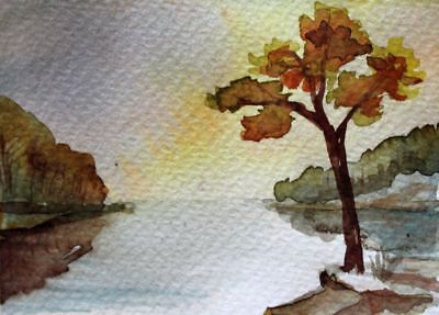 ACEO Original Watercolor Painting Landscape Forest River, Art by V. Pronkin 2010