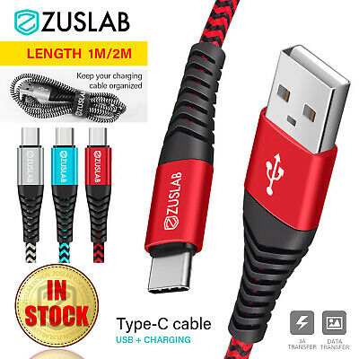 ZUSLAB Nylon USB Type C Charger Charging Cable Data For Samsung Huawei Google